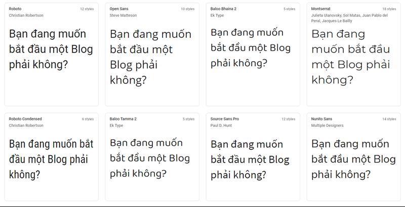 Font chữ WordPress